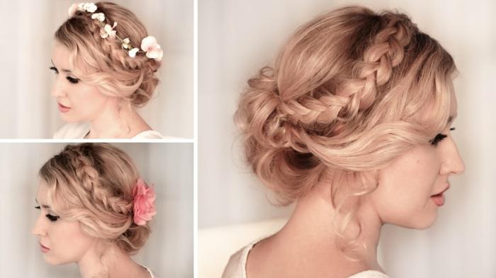 lässige Frauenfrisur für Mädchenparty mit gesteckten Haaren mit einem Zopf und Blumen als Haarschmuck