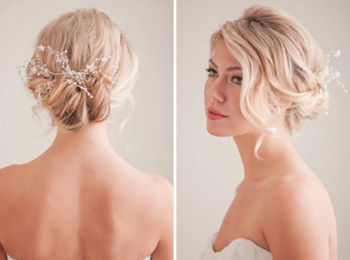 schicke Frisuren für Bräute mit mittellangen Haaren, geschteckt in einem lässigen Dutt mit elegantem Haarschmuck