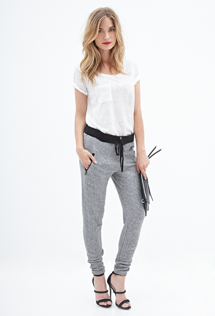 jogginghose style damen grau weiß trend-outfit