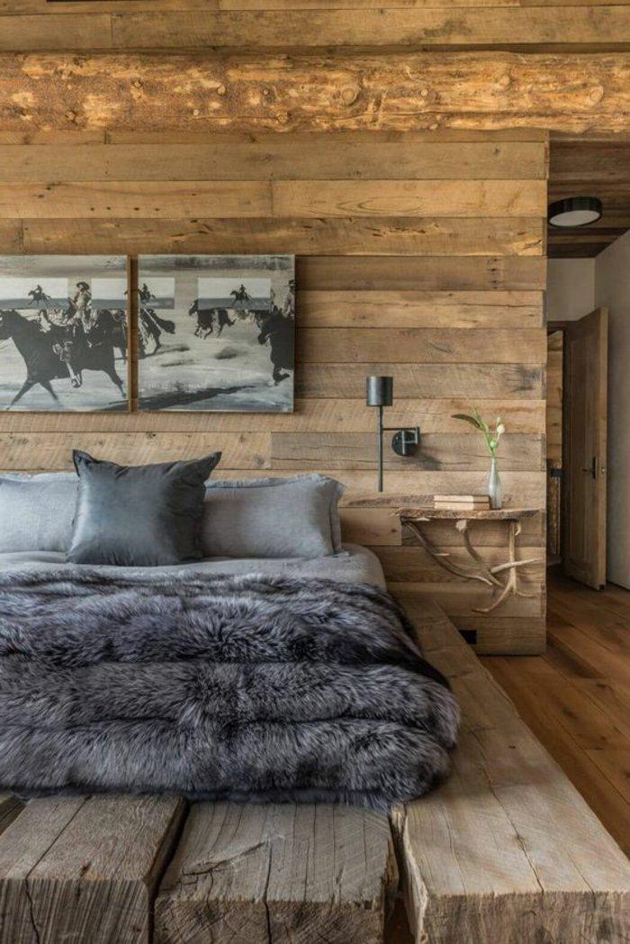 graue Bettwäsche, graue Decke zwei graue Bilder rustikales Zimmer Schlafzimmer Ideen grau