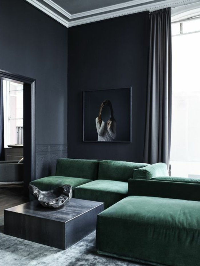 graue Vorhänge und graue Wände Schlafzimmer Ideen grau, ein interessantes Bild