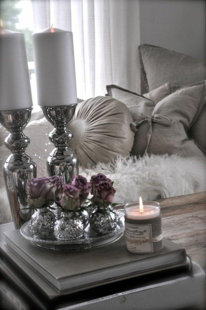 perlengraue Dekoration in verschiedene Formen in silberne Nuancen - Schlafzimmer grau