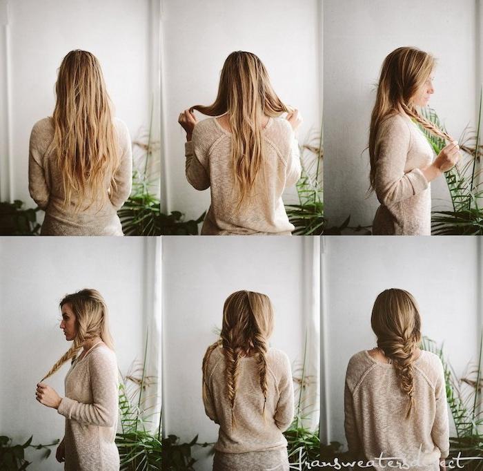 schritt für schritt diy anleitung mittelalterliche frisuren geflochten lange blonde haare zopf