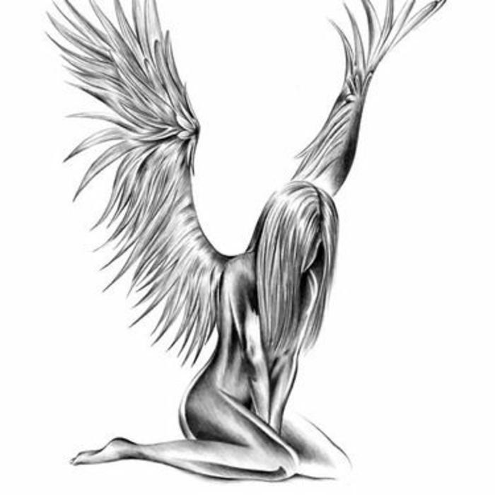 ein märchenhafter schwarzer tattoo - hier ist ein ein trauriger engel mit weißen engelsflügeln
