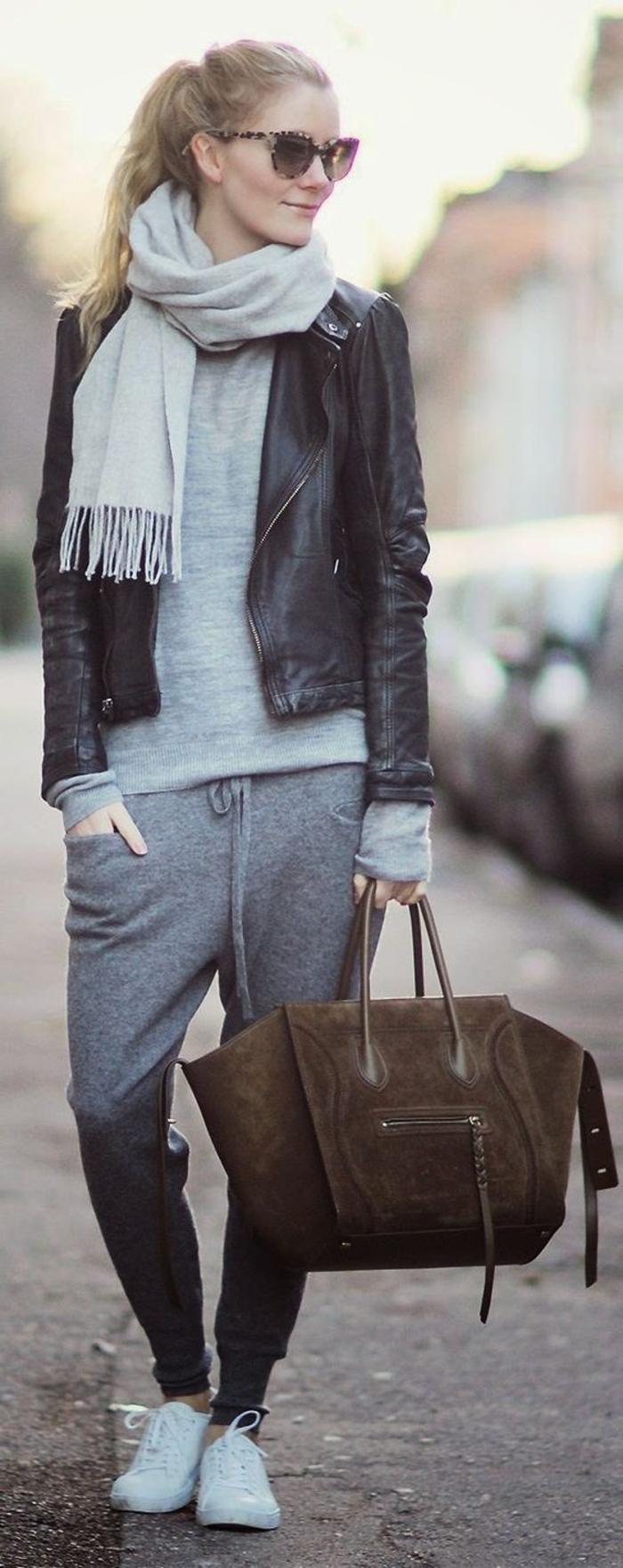 Outfit mit Jogginghose zum moderne accessoires kombinieren