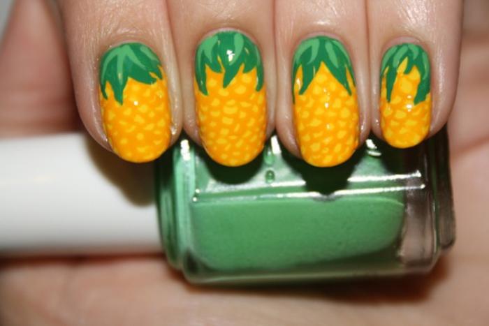 Ananas-Maniküre, Nageldesign in Gelb und Grün, schön und effektvoll, tolle Sommerdeen