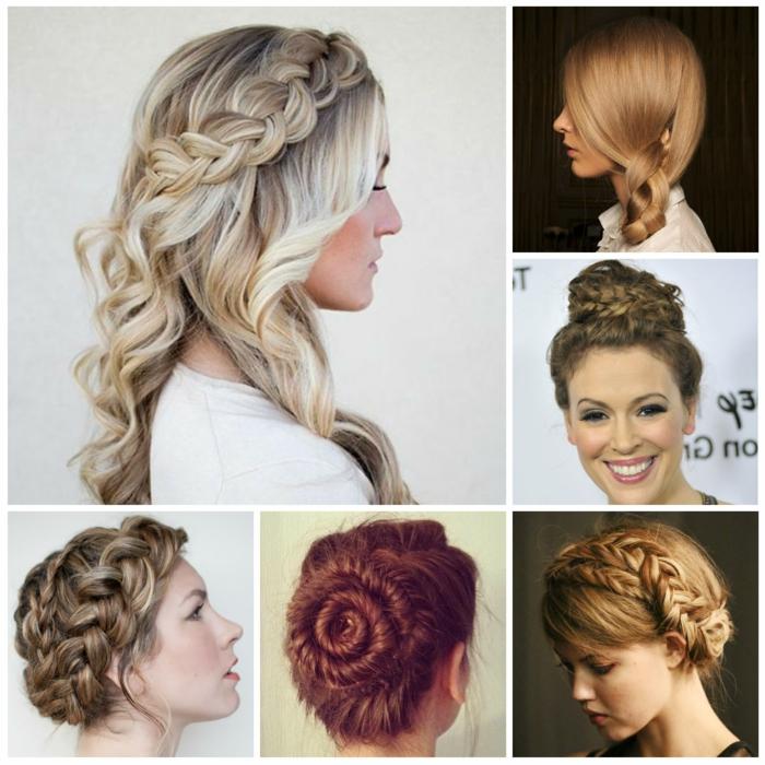 Flechtfrisuren für alle Haartypen, freifallende Zöpfe oder gesteckt in einem Dutt, verschiedene Frauenfrisuren