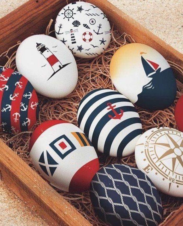 Eier maritim dekorieren holzbrett und jutegarn als unterlage