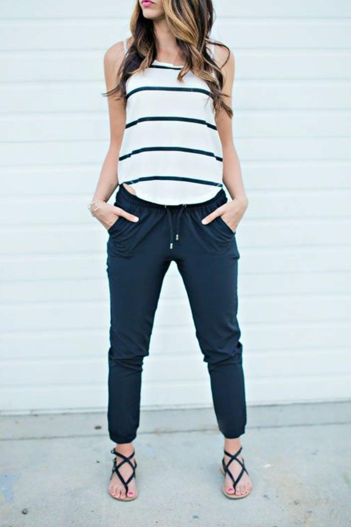 stylische jogginghosen blau zum sommer top kombinieren