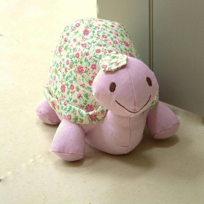 rosa Schildkröte mit Höhlung auf Blumen Muster ganz niedlich - Türstopper Sack