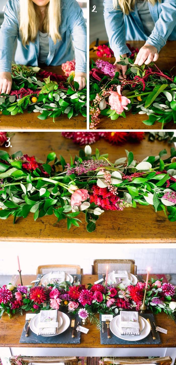 tisch dekorieren, girlande aus frühlingsblumen und grünen zweigen, frühlingsdeko, partydeko