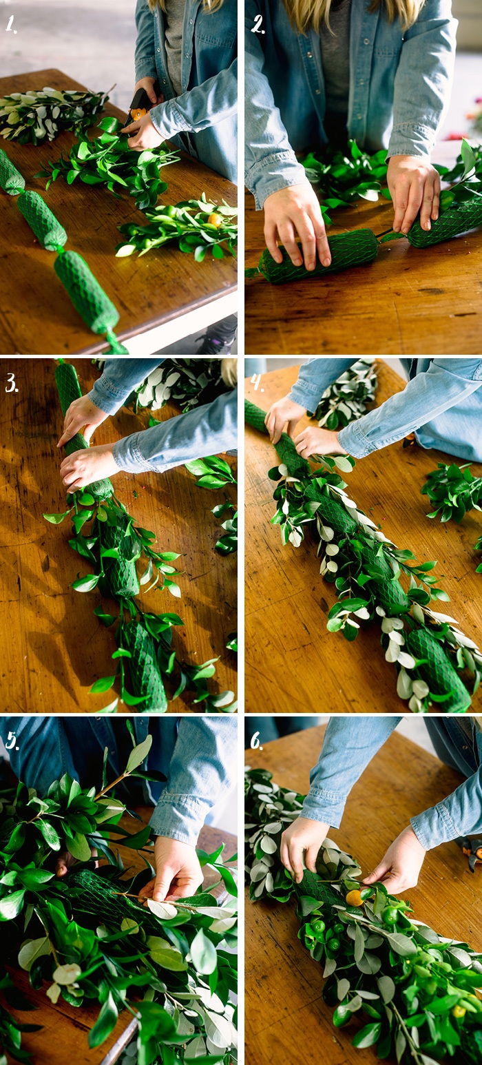 girlande selber machen, steckschaum, grüne zweige, tischdekoration