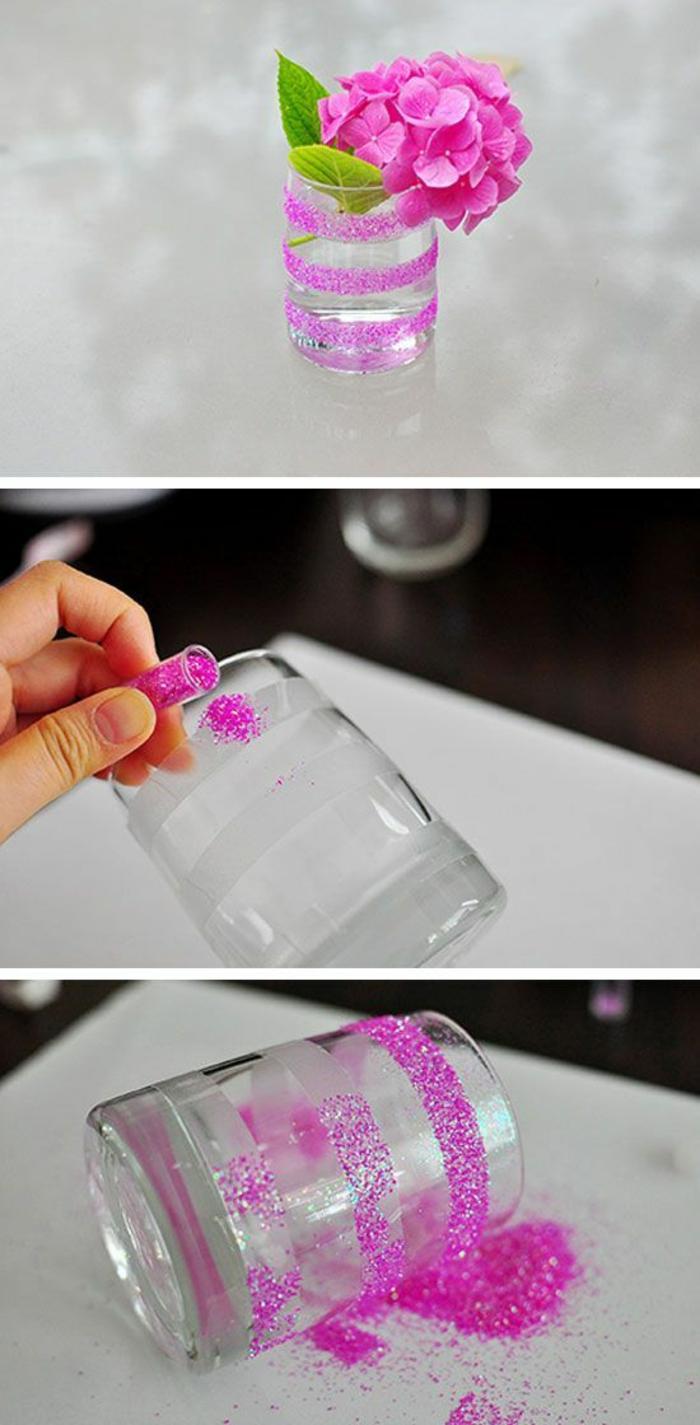 glasvase mit rosa glitzer verzieren, hortensie, diy vase