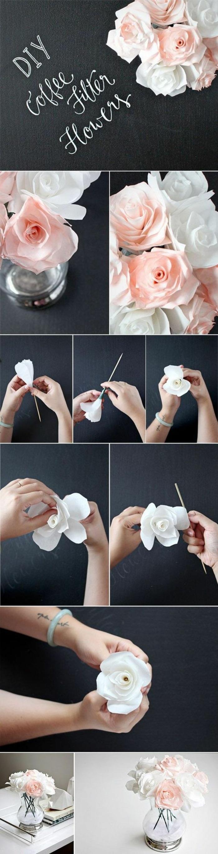 glasvase, rosen aus papier, papierblumen selber machen