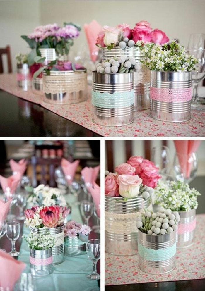 vasen aus konservendosen dekoriert mit spitze, blumen, frühlingsdeko, partydeko