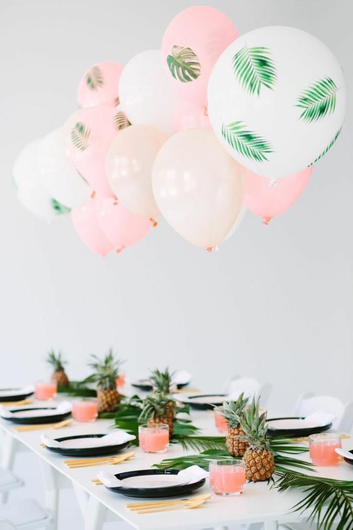 diy partydeko, ananas, ballons mit grünen blättern, sommerfest deko