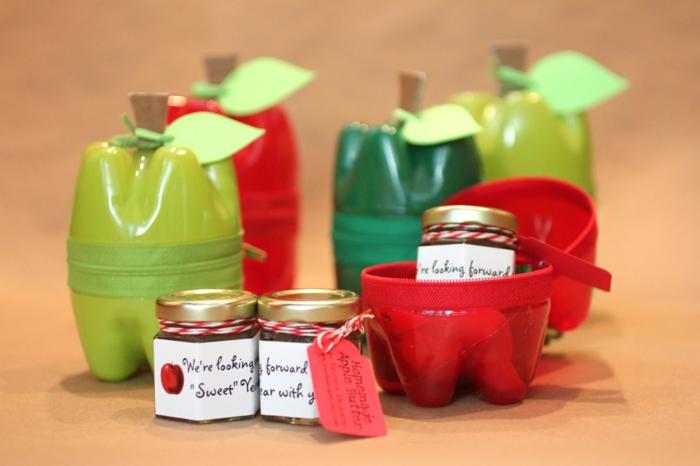 upcycling flaschen, kleine boxen in form von äpfeln selber machen