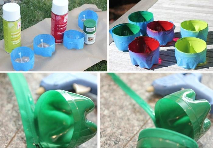 upcycling flaschen, farbe, klebeband, reißverschluss, diy box