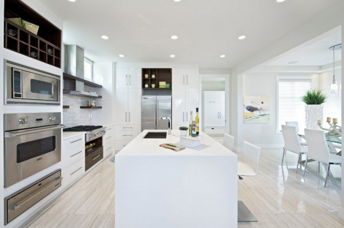 offene Küche mit einer Kochinsel als Trennwand, Esszimmerübergang, riesiger Pflanzentopf