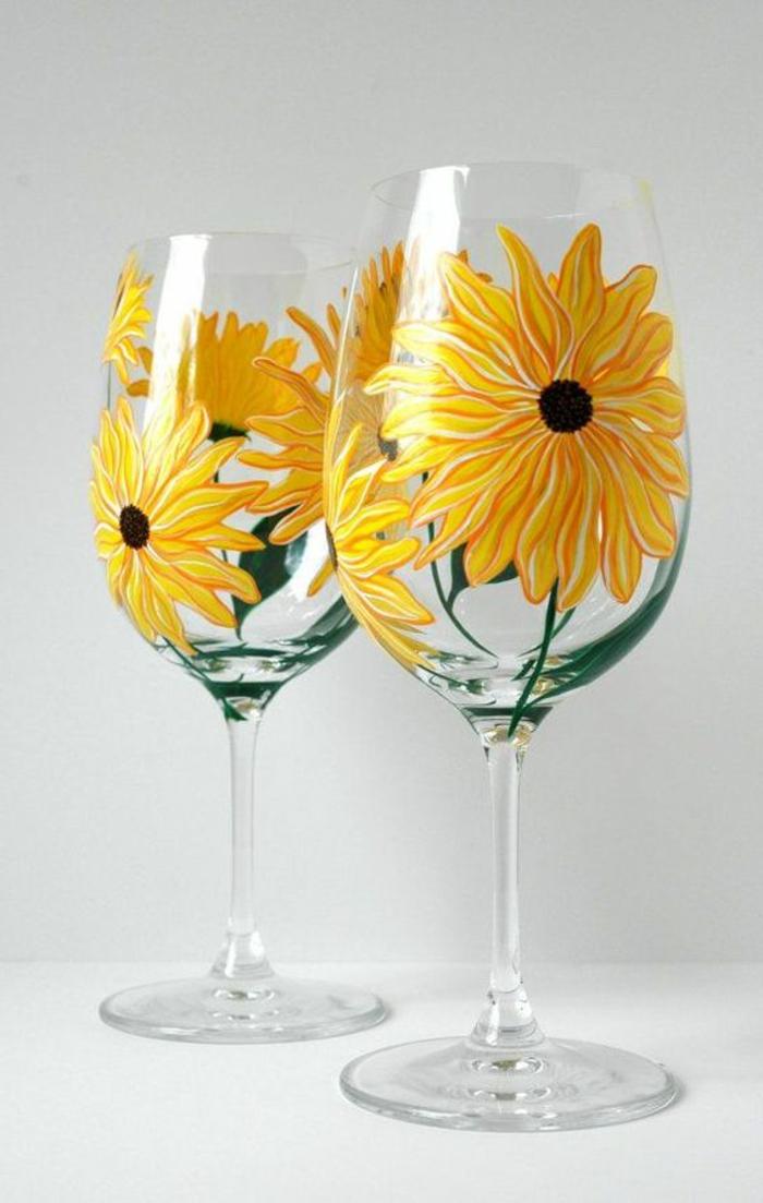 gläser bemalen, gelbe blumen, farbe, diy glas deko