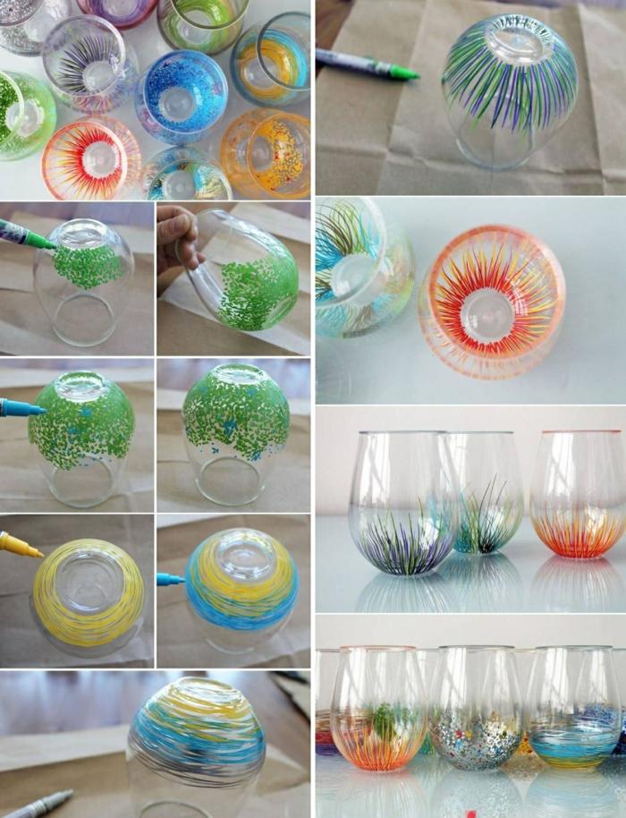 weinglas ohne stil mit farbstiften verzieren, papier, glas deko