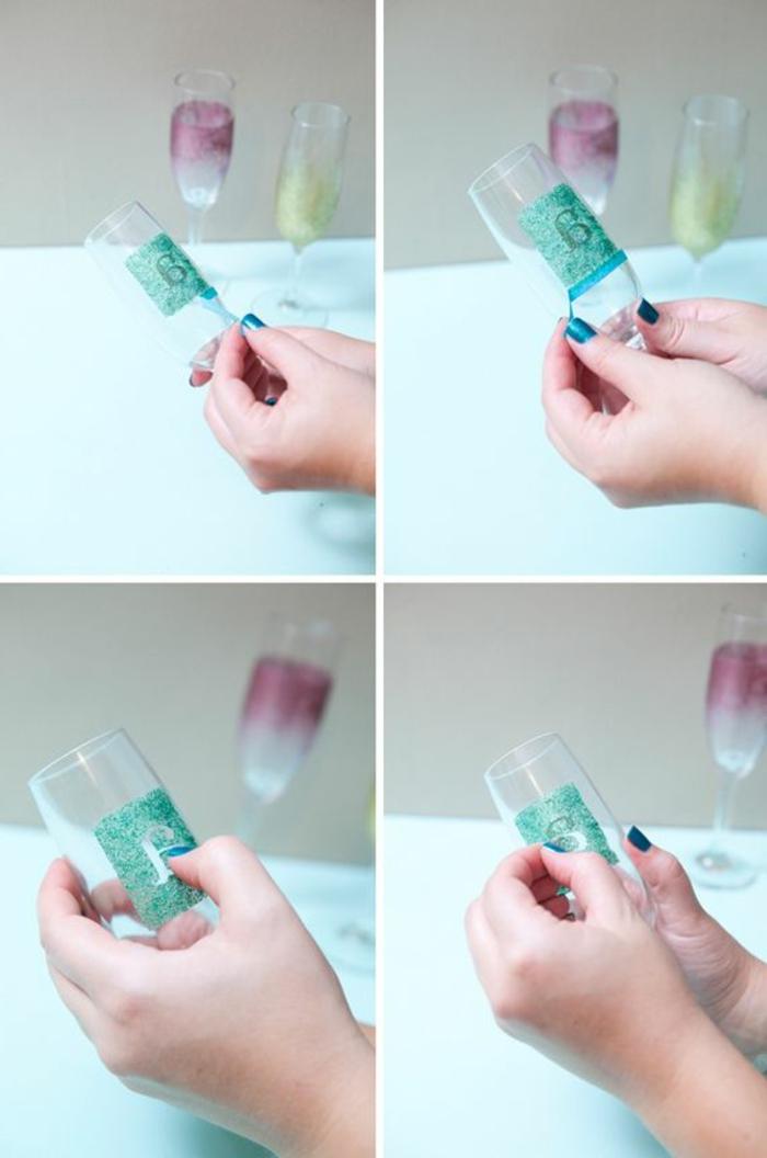 sektgläser verzieren, buchstabe, papier, monogram, blauer nagellack