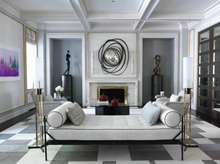ein stilvolles graues Zimmer mit Designer Möbel und Deko - so bildschön