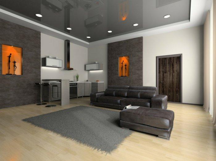 grauer Teppich, graue Wandfarbe die Farbe Perlengrau ist toll