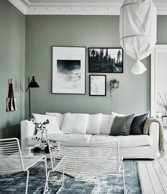 Perlgrau mit weißer Farbe kombiniert Wohnzimmer in grau, graues Zimmer