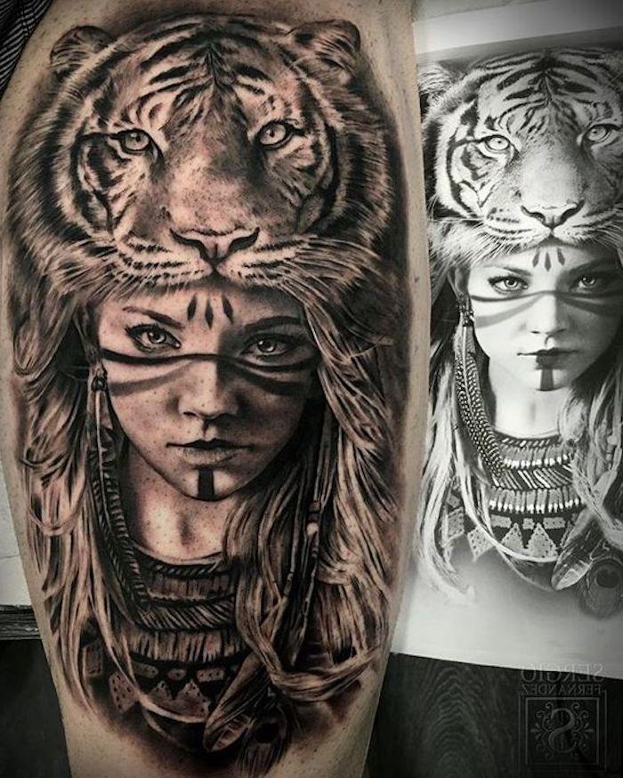 tiger tattoo, schwarz-weiße zeichnung, frau, feder, tigerkopf