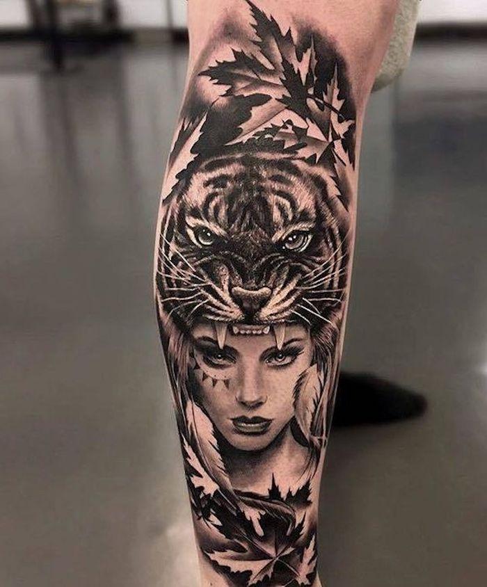 tiger tattoo, frau, tigerkopf, blätter, tätowierung