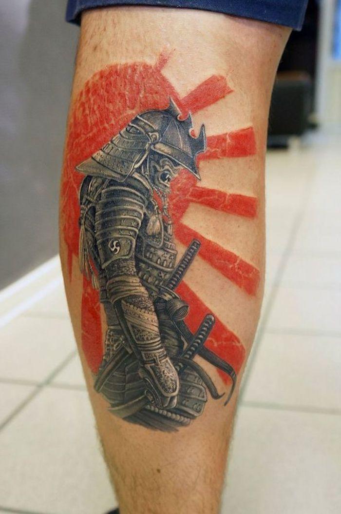 kämpfer tattoo, bein, beintattoo, rote sonne, samurai