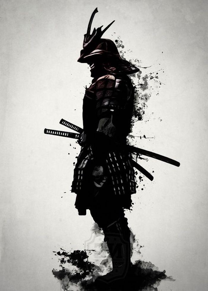 kämpfer tattoo, schwarz-weiße zeichnung, mann, katana, helm