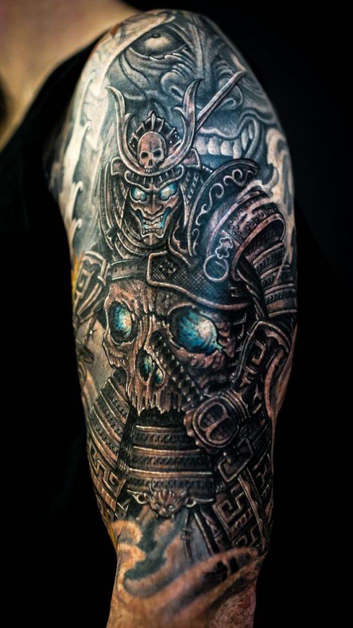 samurai tattoo, maske, ausrüstung, schädel, blaue augen, tattooärmel