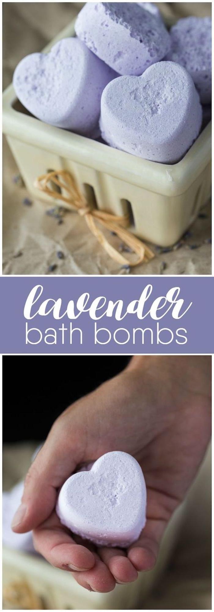 lila badekugel mit lavendel in form von herzen
