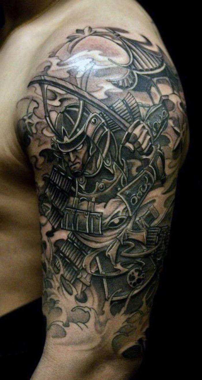 kämpfer tattoo, oberarm, armtattoo, katana, haus, wasser