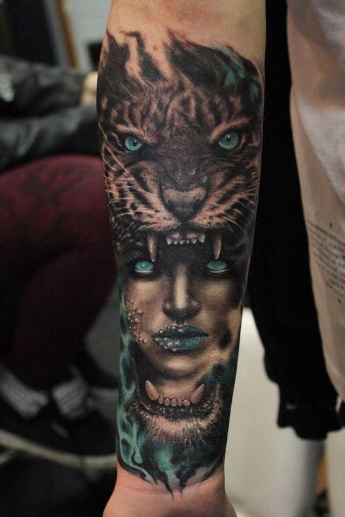 tigerkopf tattoo, blaue augen, frau, arm tätowieren