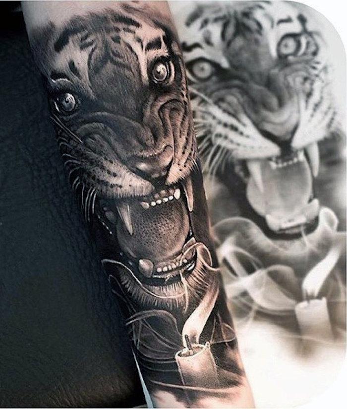 tigerkopf tattoo, schwarz-weiße zeichnung, kerze