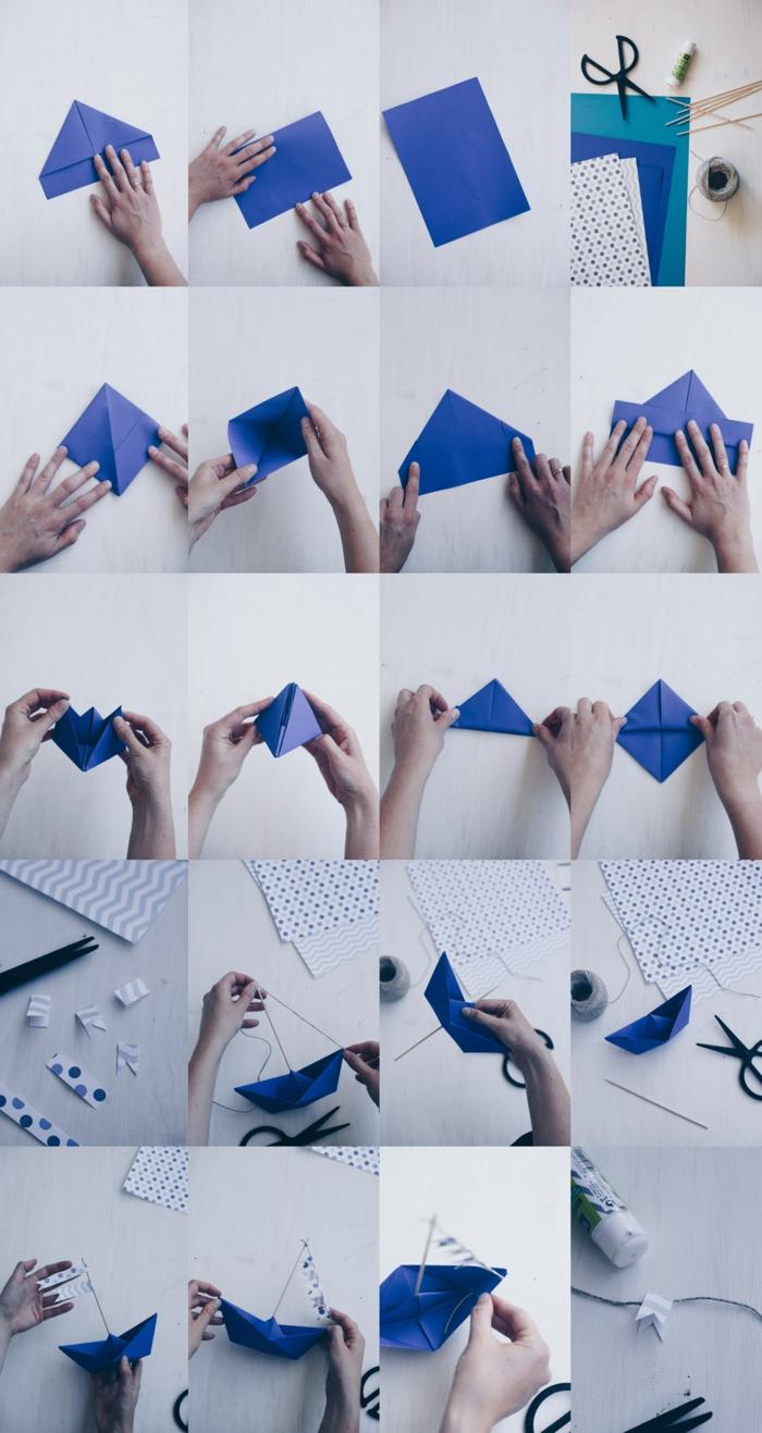 DIY Schritt für Schritt Anleitung für Segelboote aus Papier in blau, Dekoration für Taufe, maritime deko Figuren,