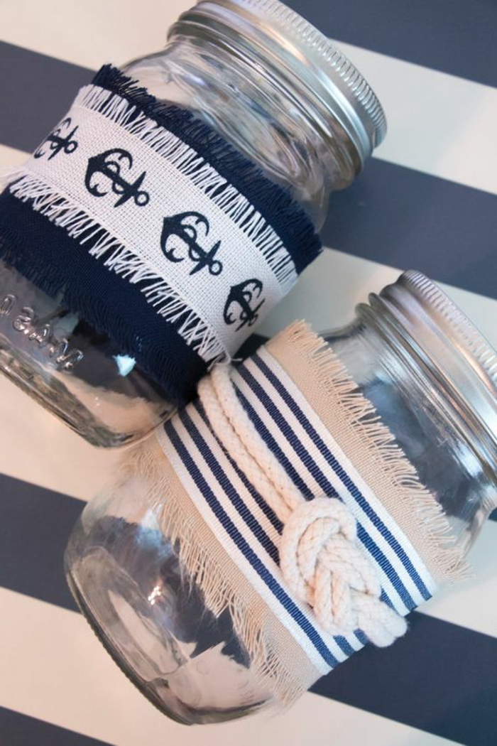 maritime Deko-Elemente aus Marmelade Glas selbst gestalten