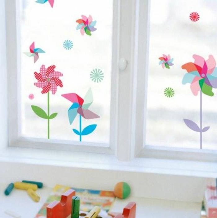 Fensterbild basteln Sommer Stimmung das Fenster fröhlich verzieren