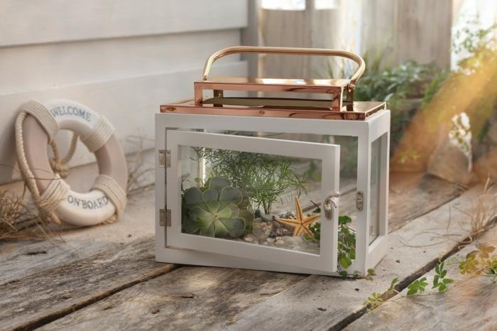 Maritim Einrichten Ideen zum Selbermachen, alte Laterne mit Meerespflanzen drin, grüne Pflanzen und ein Seestern, Rettungsring im Hintergrund,