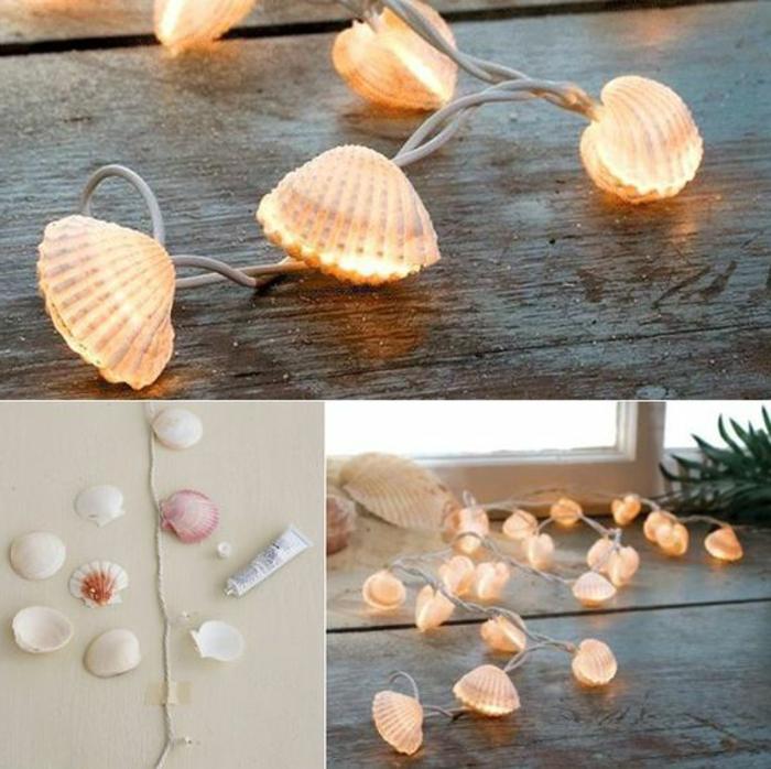 Lichterkette maritim aus Muscheln selber basteln Bastelidee Fensterdeko Sommer
