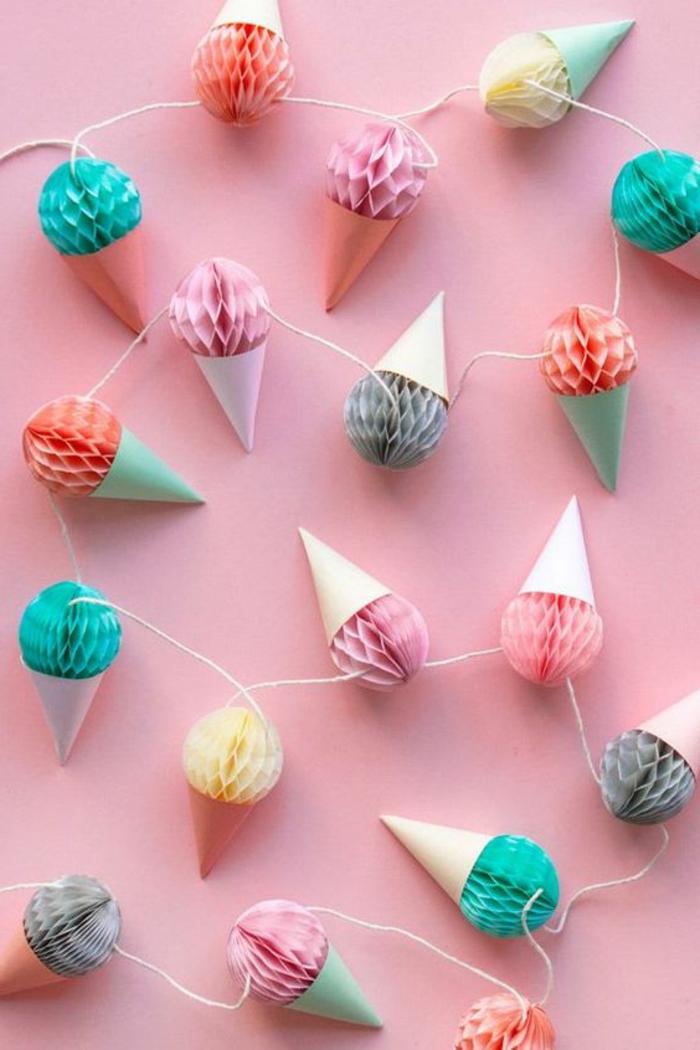 Fensterdeko Sommer Farben Motive Eiscreme Girlande basteln