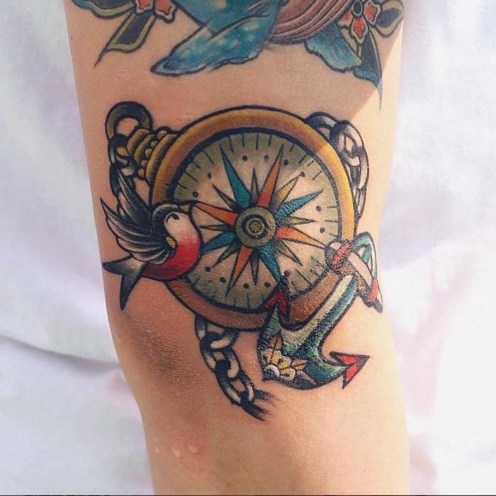 hier zeigen wir ihnen eine unserer tollen ideen für einen sehr schönen tattoo mit einem kompass und vogel und anker - eine tätowierung auf der hand