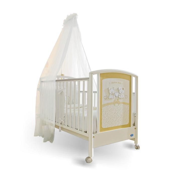 Babybett mit Himmel in Weiß und Gelb, mit Bärchen und Herzen dekoriert, mit Rollen
