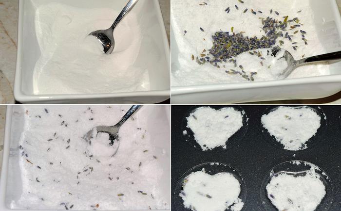 badebomben mit lavendelsamen selbst hestellen, zutaten mischen, herzen