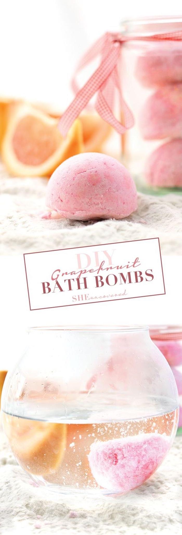 glasvase mit wasser, grapefruit, einmachflas, rosa schleife, diy