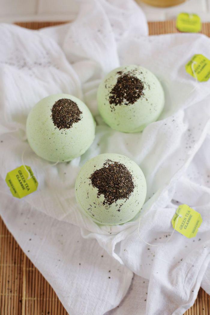 badekugeln mit grünem tee selbst machen, backsoda, zitronensäure