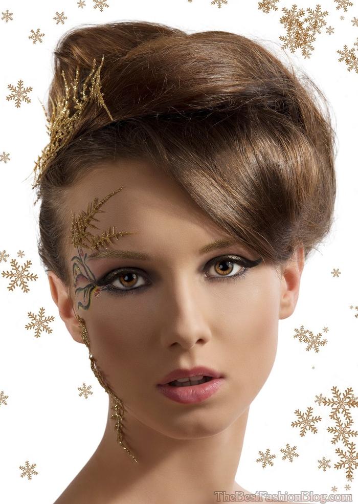 Brautjungfern Frisuren und ausgefallenes Make up runde Hochsteck Frisur